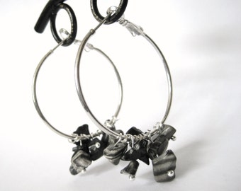 Womens Silver Hoop Earrings -Natural Gemstone Cluster Earrings -Womens Tribal Earrings -Hypoallergenic Modern Jewelry Gifts For Her Under 30