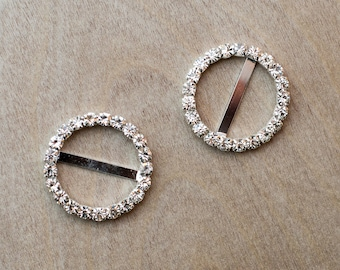 Crystal Rhinestone Round Circle Slide Buckles- Silver Plating- Set of 10