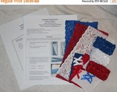 ON SALE 10% off Lot 3 Red White Blue Lace Thong Panty Panties Complete sewing Kit with Pattern Lace Lining Bows T2017a