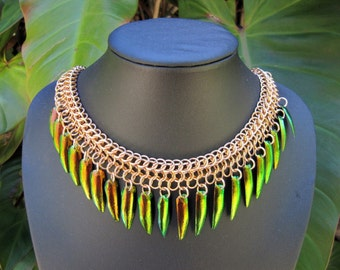 Bronze on Bronze Chainmaille and Beetle Wing Necklace