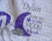 Large personalized minky baby blanket- snow white grey and jewel purple I love you to the moon and back- stroller blanket