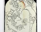 SALE Art Nouveau gift/Reverse oil painting on glass/Alphonse Mucha Fruit/Handmade gift/Display magnet/Original artwork/Art Nouveau decor