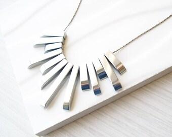 Silver Bib Necklace, Fringe, Hematite Jewelry, Modern, Contemporary, Stone