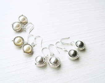 Bridesmaid Jewlery, Dainty Pearl Earrings - Modern, Petite, Ivory, White, Light Gray, Dark Grey, Small, Simple, Nickel Free Sterling Silver