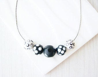 Black Necklace - Lampwork Jewelry, Onyx Stone, Polka Dot, White, Beaded, Glass, Sweet, Artsy, Sterling Silver Option