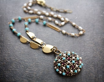 Vintage Turquoise Dome Pendant Assemblage Necklace With Amethyst Rhinestones and Seed Pearls