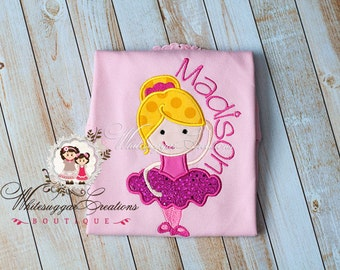 Ballerina Dancer Embroidered Shirt - Custom Monogrammed Shirt - Ballet Shirt - Baby Girl Shirt