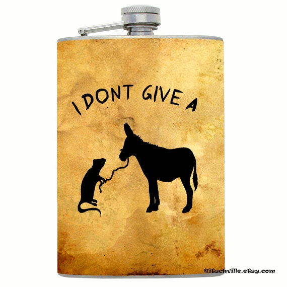 "Funny & Honest  ""I Don't Give a Rat's Ass"" Decorated Flask by Kitschville (8 Ounce)"
