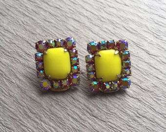 Bright Yellow Glass Earrings Rhinestone Border