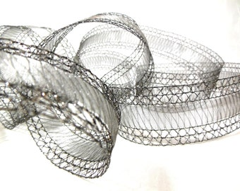 Ribbon Antique Silver Grey Lace Wired Edges for Home Decor, Wedding, Crafts, Floral