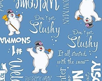 Frosty the Snowman from Quilting Treasures - Full or Half Yard Frosty on Blue with Words