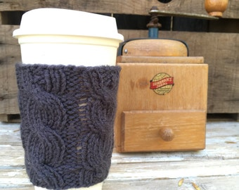 Coffee Cup Sleeve, Coffee Mug Cozy - Cable Knit Coffee Cup Cozy in Dark, Charcoal Grey