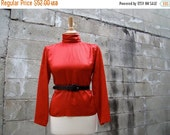ON SALE Vintage 80s / CHRISTIAN Dior / Silk / Red and Black / Checker Board / Blouse / Small