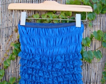 ON SALE Vintage 60s / Electric Blue / San Francisco/  Ruffle / Boudoir / Bloomers / SMALL