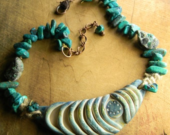 Tribal Jewelry Necklace Chrysocolla Choker Artisan Blue Chevron Clay Focal