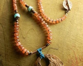 Southwestern Jewelry Artisan Copper Pendant Necklace Sunstone Beaded