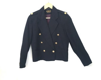 Navy Blue Nautical Style Linen Short Jacket With Gold Buttons by Giorgio Sant' Angelo Medium
