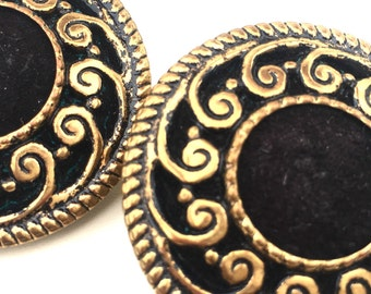 Large Round Golden Brass Filigree And Black Roman Gladiator Shield Pierced Earrings So 80's Cosby Show