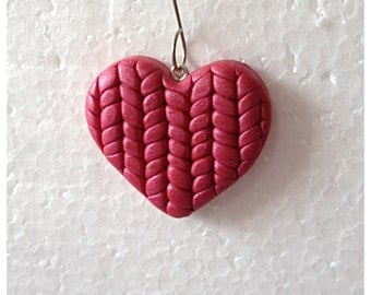 Red Heart Polymer Clay Knit Ornament or Pendant