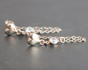 Earrings - Rose Gold Vermeil Heart Posts with 4mm CZ Diamond Connectors - Chain Stud Earrings - Valentines Gift