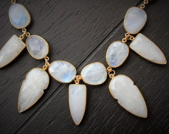 Moonstone Necklace Arrowhead Necklace  Natural Moonstone Necklace Gold Moonstone Necklace Boho Necklace Boho Jewelry Statement Necklace