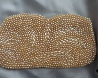 Vintage pearl beaded clutch purse