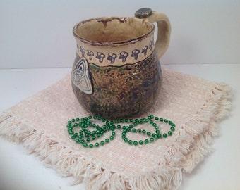 Irish mug/stoneware mug/celtic mug/trident/irish pottery/mug/handmade mug/celtic knots
