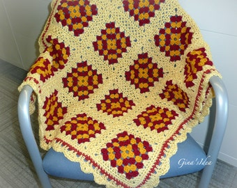 "Crochet BABY BLANKET AFGHAN Lap Granny Squares Soft Warm Yellow Burgundy Gold 37"" x 33"" Girl Boy Baby Shower"