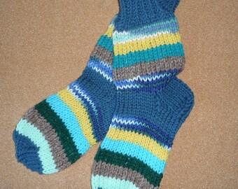 Hand knitted SOCKS WOMEN'S size 6.5 - 7.5 Leg Warmers Slippers Soft Warm happy socks New Gift