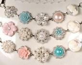 HOLD Set 3 Custom OOAK Blush Pink Mint Blue/Aqua Silver Bridesmaid Bracelet Gifts Rustic Wedding Pearl Rhinestone Vintage Earring Bracelet