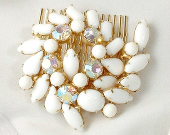Vintage White Milk Glass Sash Brooch OR Gold Bridal Hair Comb, 1950s 1960s Rhinestone Bridal Pin / OOAK Headpiece, Modern Wedding Accessory