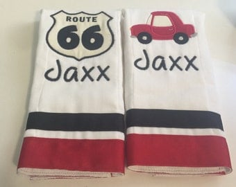 Set of 2 personalized custom monogrammed burp cloths routes 66 auto