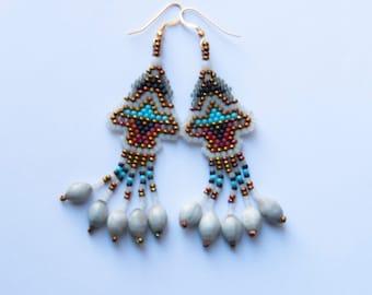 peyote bead earrings with seeds