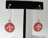 RED FLEUR De Lis Handmade Paris Chic Dangle Earrings