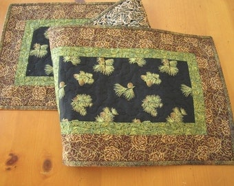 Handmade Runner Quilted Table Runner with Pine Cones Mountain Decor Handmade Quilted Tablerunner Patchwork Table Runner, Pieced Table Runner