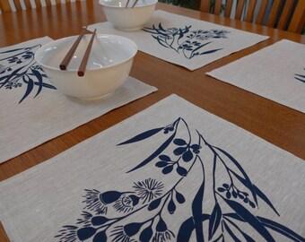 Linen Placemats Screen Printed Linen Place Mats Hand Printed Linen Table Mats Navy&Natural Australian Eucalypt (set of 4)