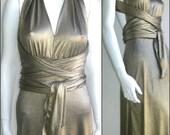 70s 80s vtg gold bronze disco dress minimalist