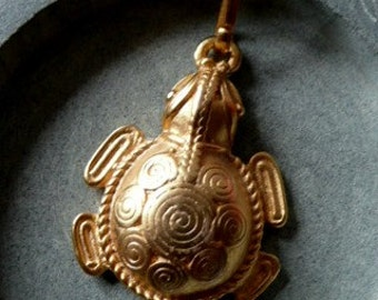 Aztec Jewelry 24K Gold plated Turtle Pendant on Chain