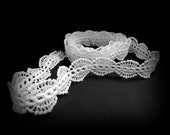 White Lace Trim, White Bridal Trim, White Narrow Trim, White Wedding Trim, 1 inch Wide, Wedding Trim, Oval Lace Trim, 1 yd 30 inch, Edging