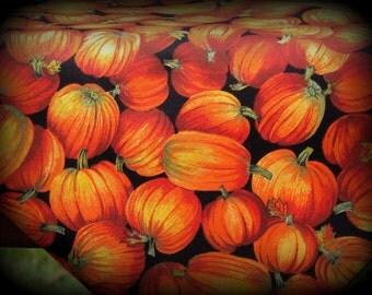 Autumn Pumpkins, Pumpkin Fabric, Half Yard, Black and Orange, Halloween Fabric, Orange Pumpkin Fabric, Fall Pumpkins, Thanksgiving Fabric
