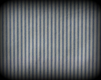 Ticking Fabric, Blue and White Tick, Half Yard, Blue Stripe Fabric, Railroad Fabric, Medium Weight, Cotton Ticking, Woven Ticking, Cotton