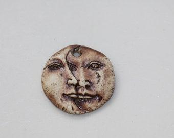 Ceramic sun and moon pendant handmade sun and moon clay  art bead organic earthy artisan jewelry supplies potterygirl1