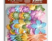 36pc PASTEL DAISIES Mulberry Paper Flower Layers PETALOO CardMaking Scrapbook 1318-701