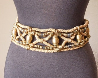 END of SUMMER SALE Boho...Unique Vintage Belt, Medium to Large, Rope and Gold Brass Rings and Beads, Festival, Gypsy, Ethnic