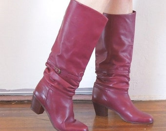MOVING SALE Vintage Burgundy 80's Boots,  Low Heel,  Leather, Size 8.5