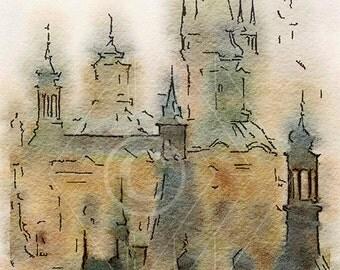 Printable Art, Instant Download, DIY Print At Home, Art Print, Watercolor, Prague, Czech Republic,