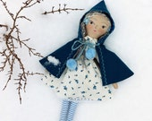 Tiny Handmade Dolls - turquoise scallop cape with blue vintage roses lining