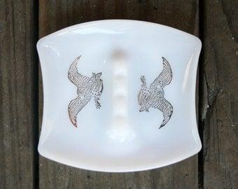 Vintage Gold Eagle Milk Glass Ashtray