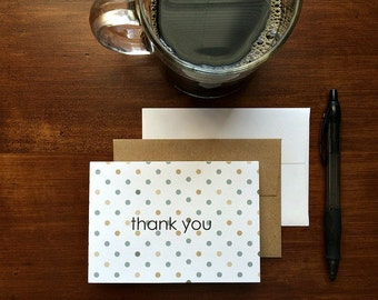 Polka Dot Thank You Notes - Modern Thank You Cards, Tan Beige Grey Dots, Neutral Stationery, Note Card Set Polka Dots, Wedding Baby Shower