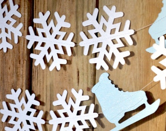 Ice Skates and Snowflakes Garland - large frozen snowflake banner in glitter white and blue, 10 or 20 feet long